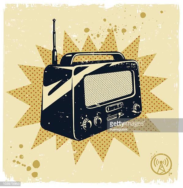 レトロラジオ - ラジオ点のイラスト素材/クリップアート素材/マンガ素材/アイコン素材