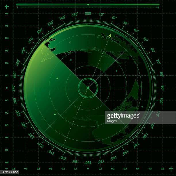 image of a green and black radar screen - rfid stock illustrations, clip art, cartoons, & icons