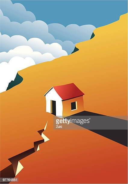 image of a house on a cliff at sunset - earthquake stock illustrations