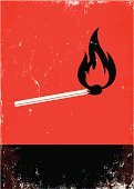 Image of a lit match on a black and red background