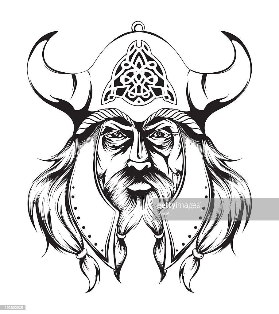 Image of a Viking wearing a traditional helmet