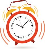 Image of an alarm clock shaking and ringing at 10:09