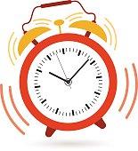 Image of an alarm clock shaking and ringing at 10:09
