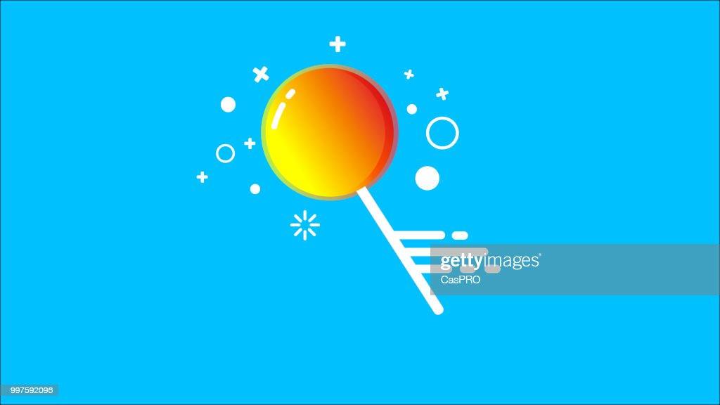 Image of an orange Lollipop on a stick on a blue background.