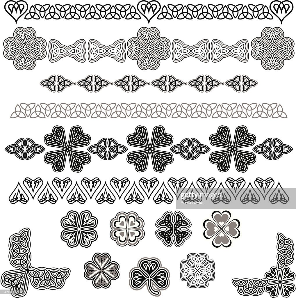 Image of black and white Celtic designs