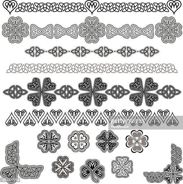 ケルトデザイン要素のセット(ブラック&ホワイト) - ケルト風点のイラスト素材/クリップアート素材/マンガ素材/アイコン素材