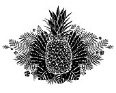 Image of black and white pineapple fruit lettering exotic on background.