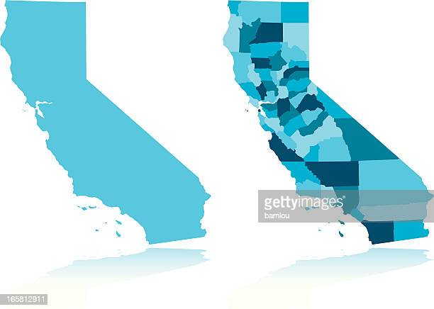 image of california next to image of california counties - next stock illustrations