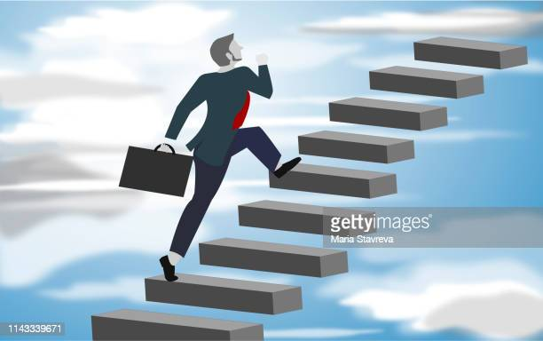 image of confident businessman with briefcase walking upstairs.vector - stepping stock illustrations, clip art, cartoons, & icons