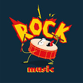 Image of crazy drum in rock style.