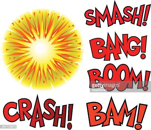 Bild der Explosion mit Text