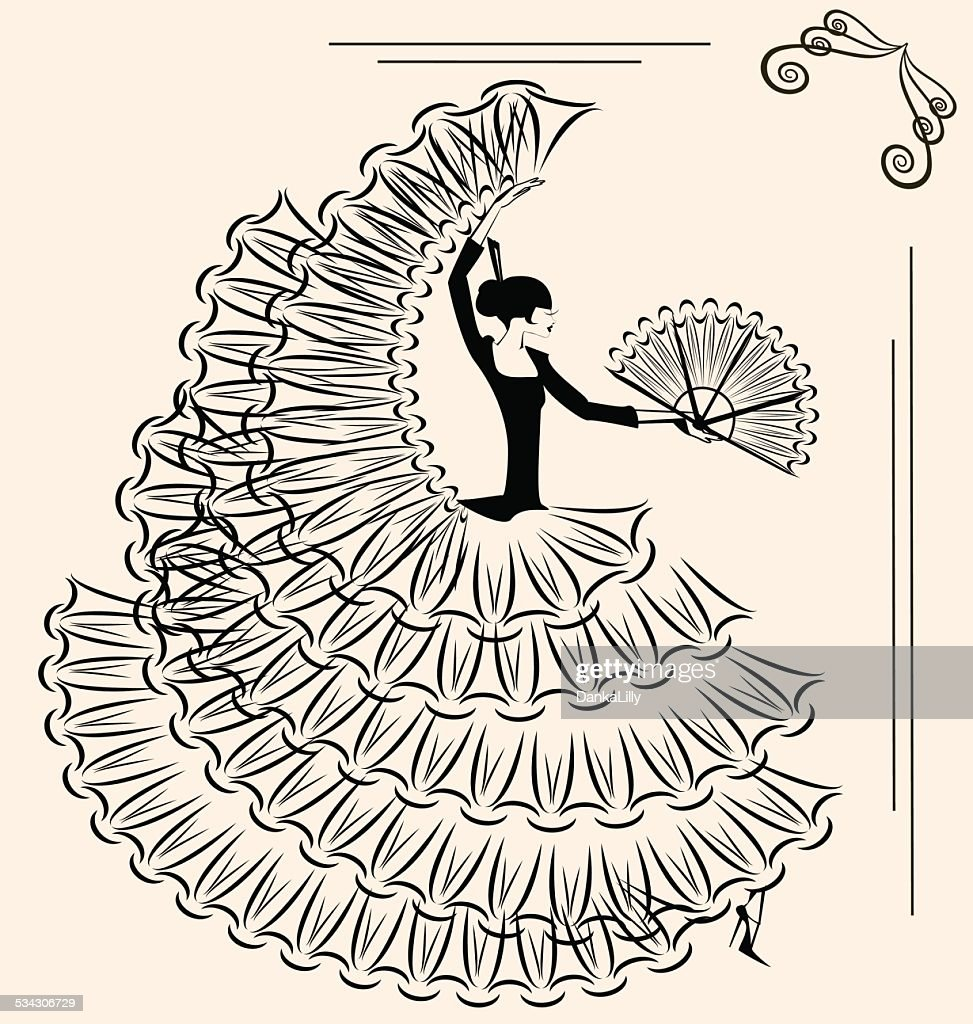 image of flamenco with fan