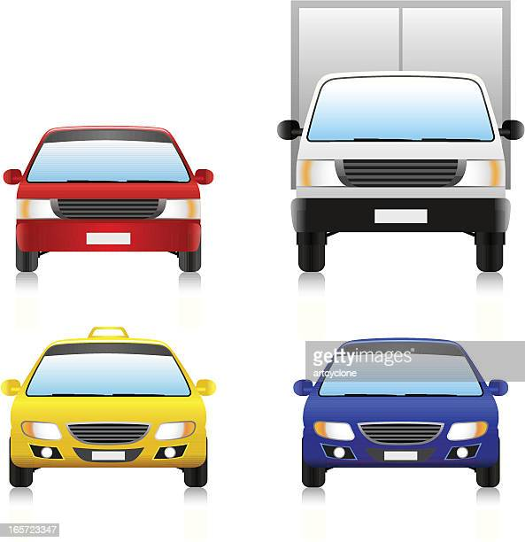 image of four different types of common road vehicles - lutin stock illustrations
