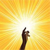 Image of hand spreading yellow light