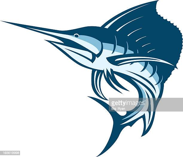 image of powerful sailfish with sharp mouth - marlin stock illustrations, clip art, cartoons, & icons