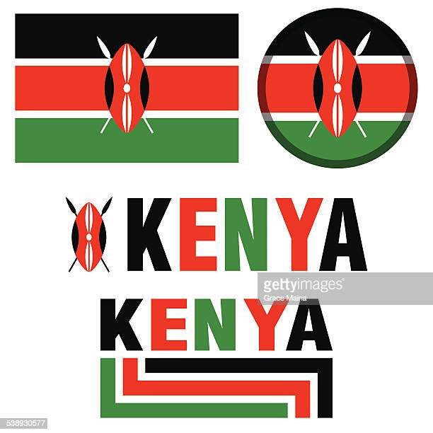 image of the Kenya flag in green black and red