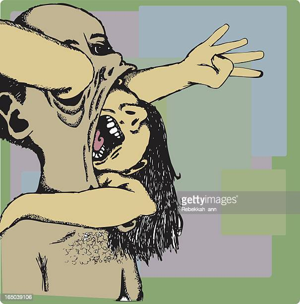 image of two ghoulish characters, one swallowing the other - phobia stock illustrations, clip art, cartoons, & icons