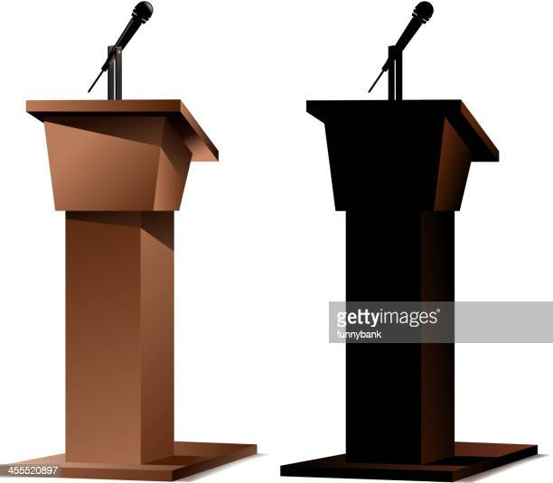 A 3D image of two podiums on white