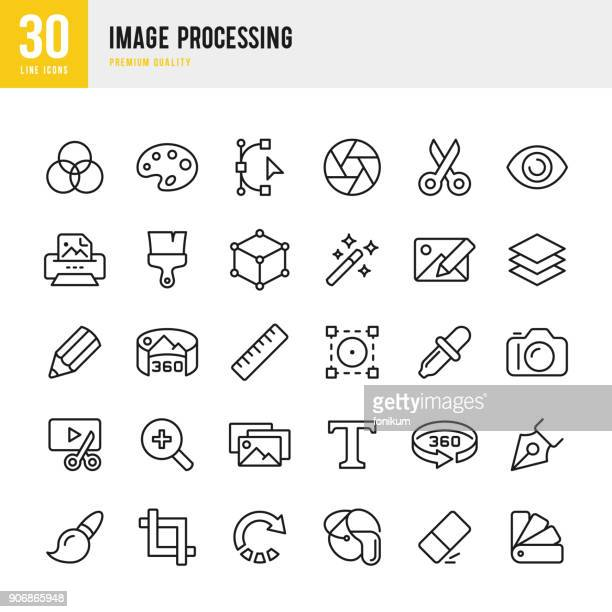 image processing - set of thin line vector icons - work tool stock illustrations