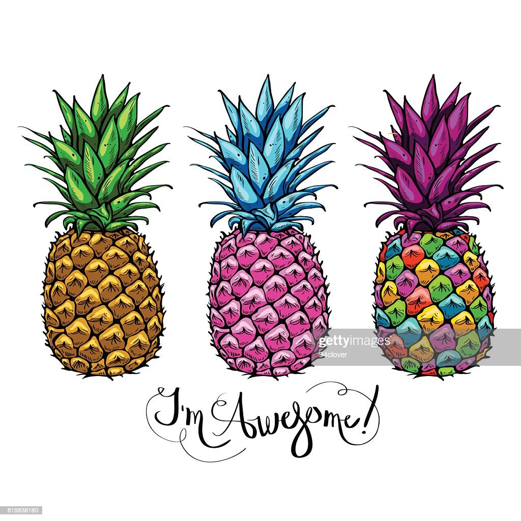 Image with three multicolored pineapples fruit lettering awesome