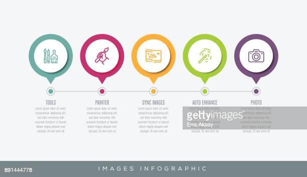 ilustrações, clipart, desenhos animados e ícones de infográfico de imagens - portfolio