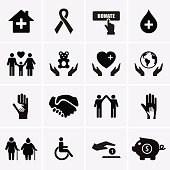 Images of charity and relief symbols in boxes