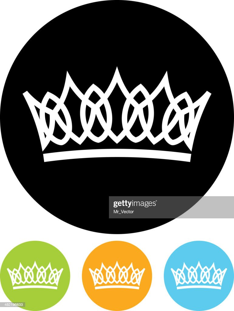 Images of circular logo depicting a crown, four colors