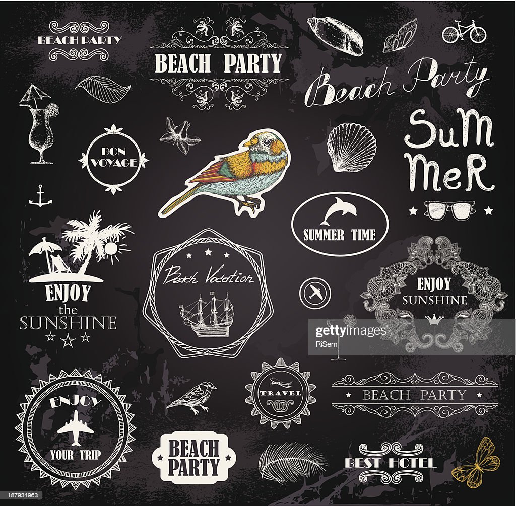 Images representing the summer on a black background