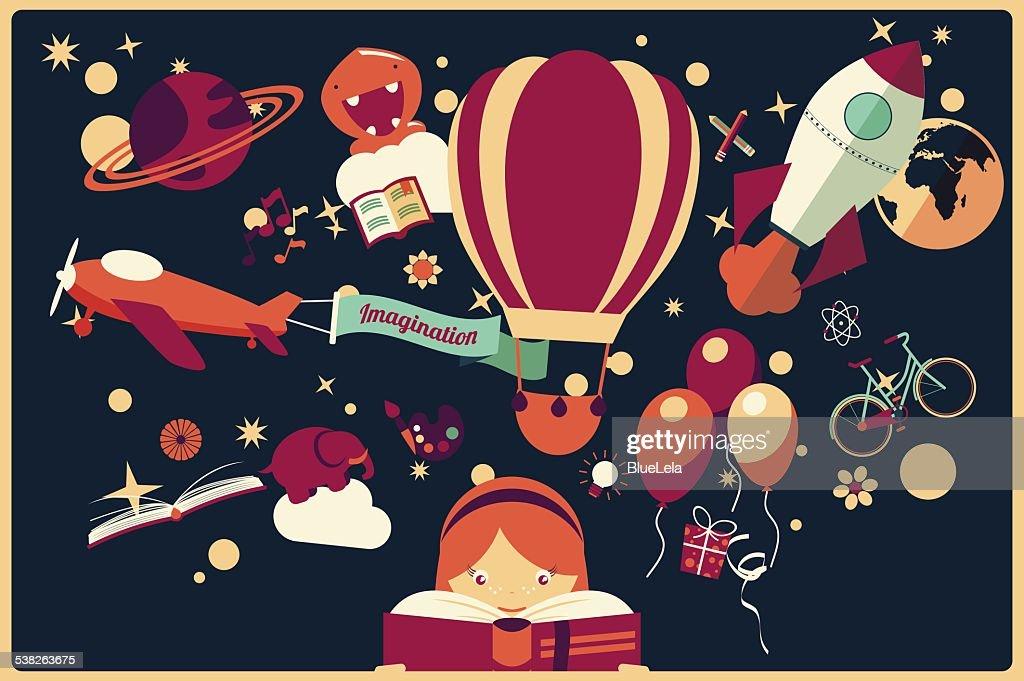 Imagination concept - girl reading a book with air balloon