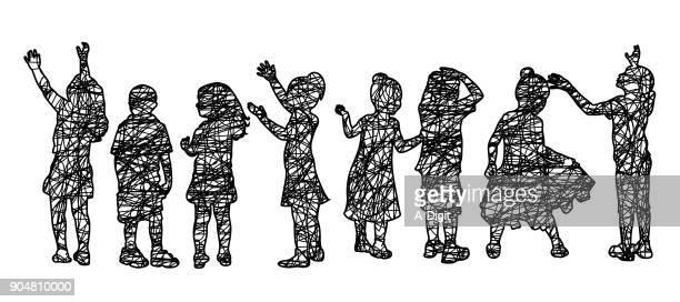 imaginative children sketch - child care stock illustrations