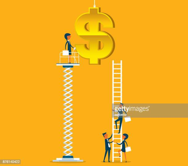 imbalance - businesswoman - elevator stock illustrations, clip art, cartoons, & icons