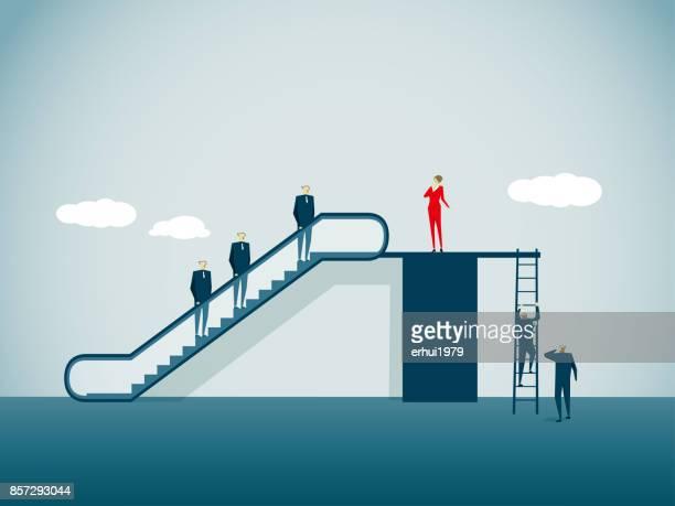 imbalance - escalator stock illustrations, clip art, cartoons, & icons