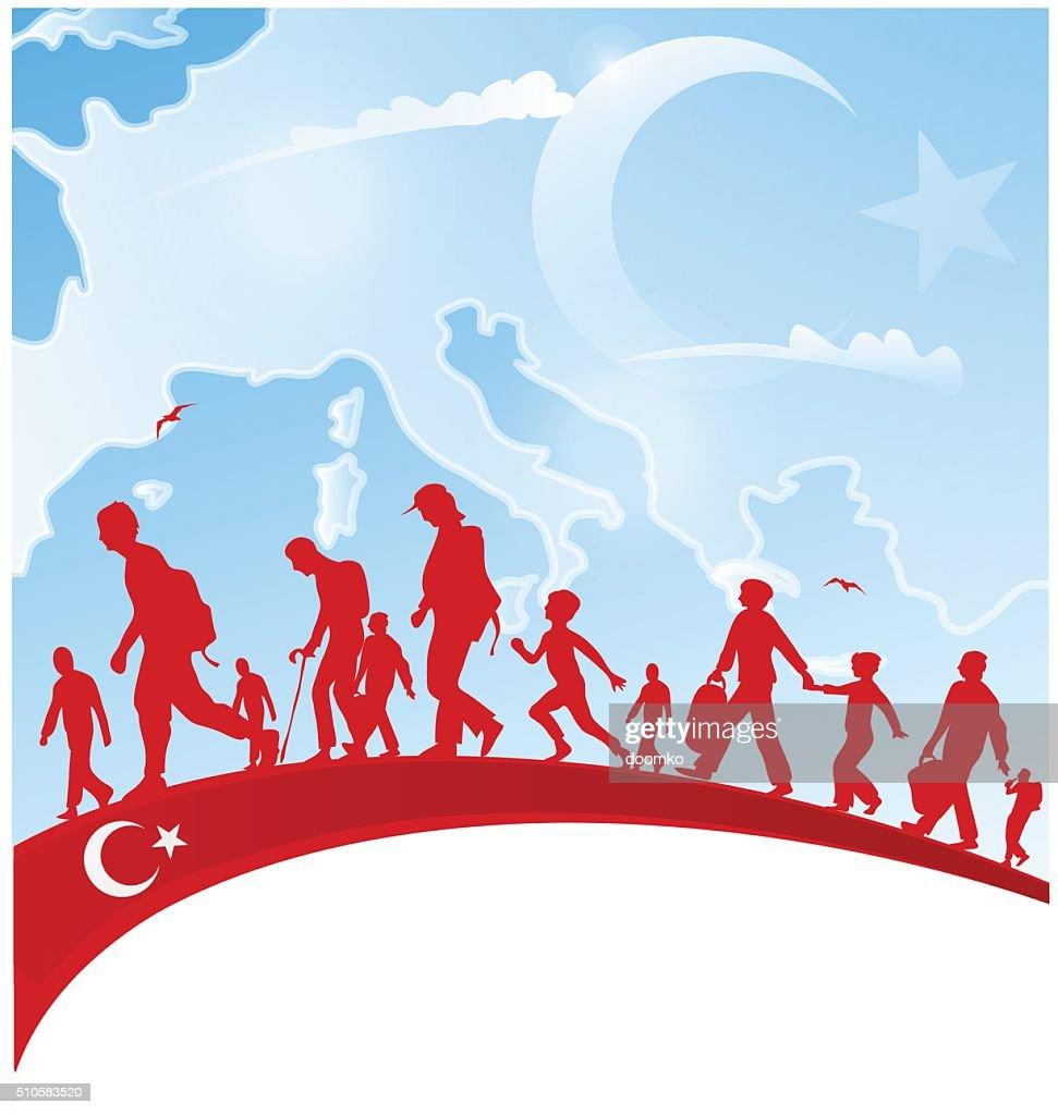 immigration people on turkey flag
