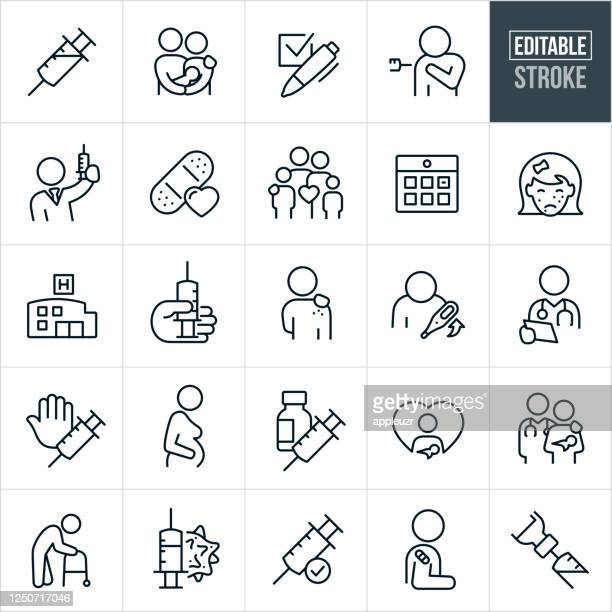 immunization thin line icons - editable stroke - injecting stock illustrations