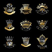 Imperial Crowns emblems set. Heraldic Coat of Arms, vintage vector icons collection.
