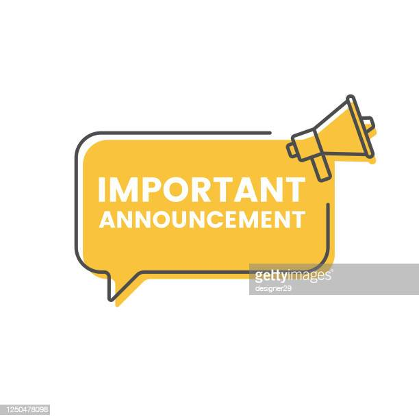 important announcement and megaphone speech bubble icon vector design. - announcement message stock illustrations