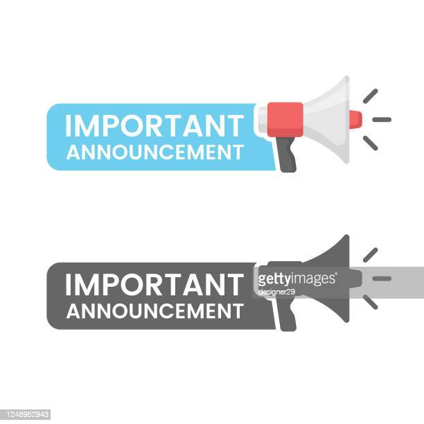 important announcement flat design on white background. - urgency stock illustrations