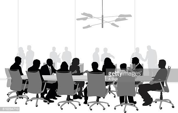 important business meeting - conference table stock illustrations, clip art, cartoons, & icons