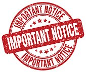 important notice red grunge round vintage rubber stamp