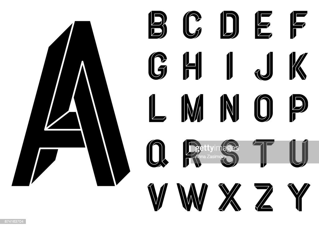 Impossible Geometry letters. Impossible shape font. Low poly 3d characters. Geometric font. Isometric graphics 3d abc. Black letters on a white background. Vector illustration 10 eps