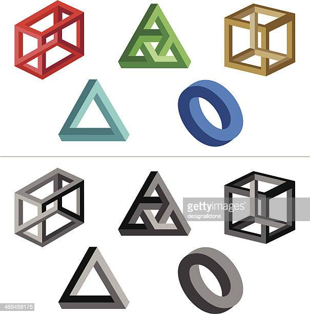 impossible objects (solid colours) - adversity stock illustrations