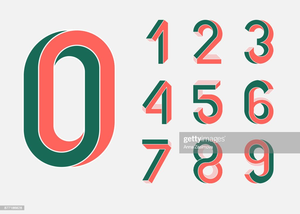 Impossible shape numbers. Retro style . Colored numbers in the style of the 80s. Set of vector numbers constructed on the basis of the isometric view. Low poly 3d characters. Vector