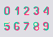 Impossible shape numbers. Retro style numbers. Colored numbers in the style of the 80s. Set of vector symbols constructed on the basis of the isometric view. Vector illustration 10 eps.
