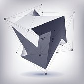 Impossible shape, unreal arrows, 3 arrows vector, crystal, 3D
