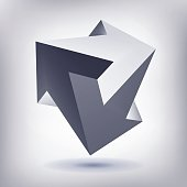 Impossible shape, unreal arrows, 3 arrows vector, crystal