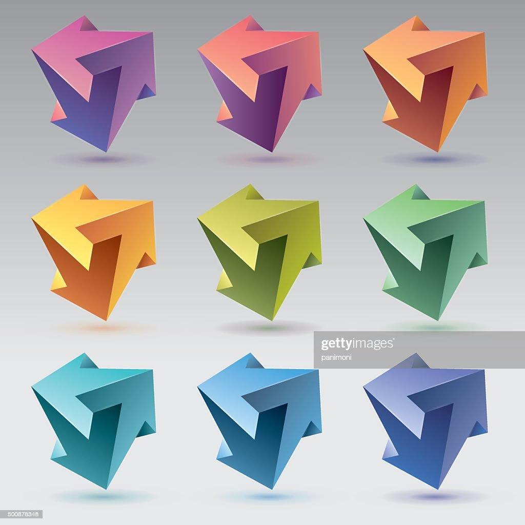 Impossible shapes, arrows, unreal crystals