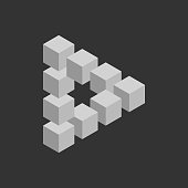 Impossible triangle in grey. 3D cubes arranged as geometric optical illusion. Reutersvard traingle. Vector illustration