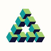 Impossible triangle sign isometric cubes shape
