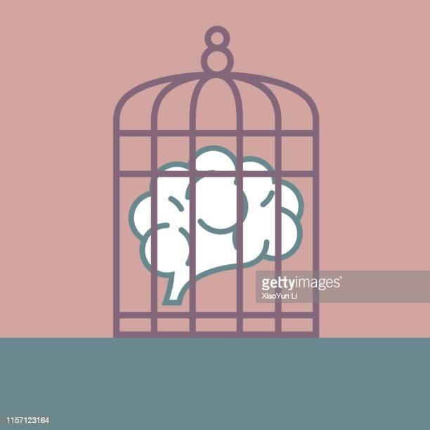 ilustraciones, imágenes clip art, dibujos animados e iconos de stock de idea de prisión - autismo