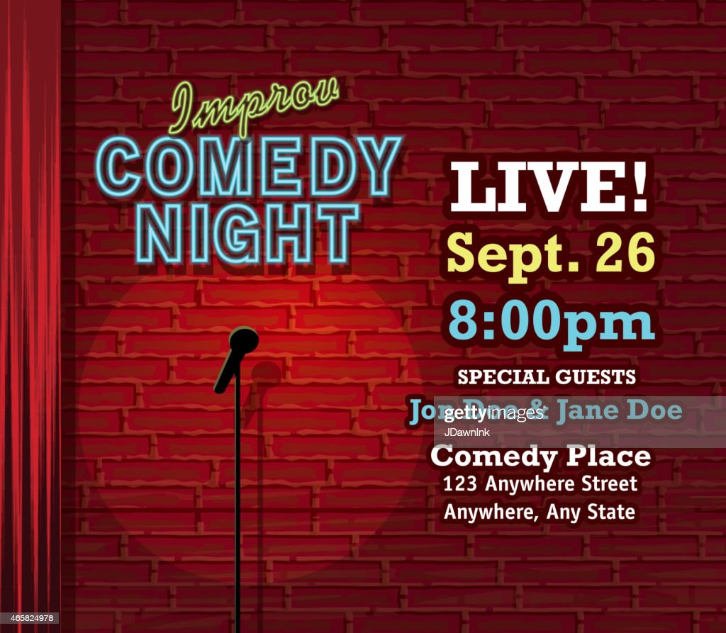 Improv Comedy Night stage with neon sign and brick wall